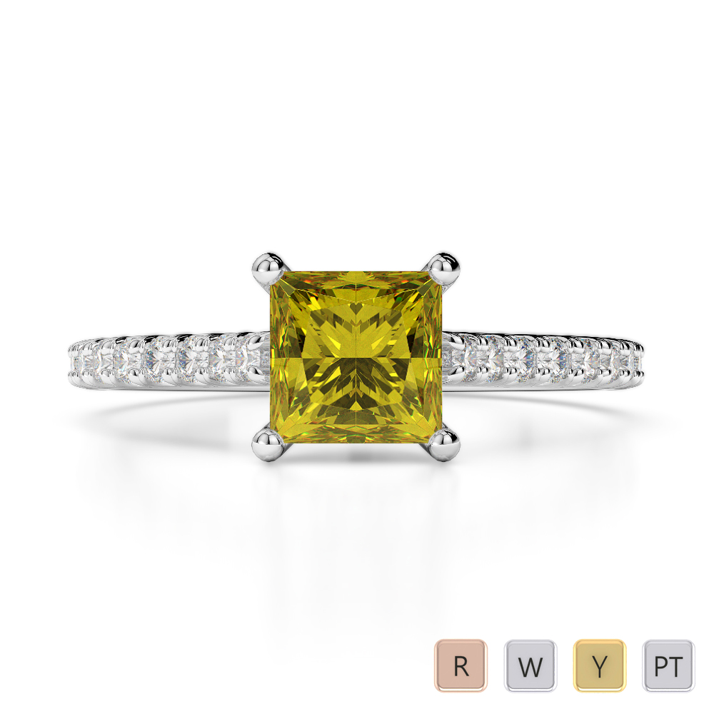 Gold / Platinum Round and Princess Cut Yellow Sapphire and Diamond Engagement Ring AGDR-1217