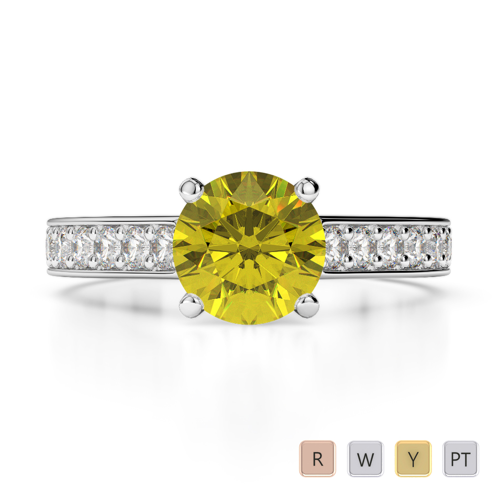 Gold / Platinum Round Cut Yellow Sapphire and Diamond Engagement Ring AGDR-1219