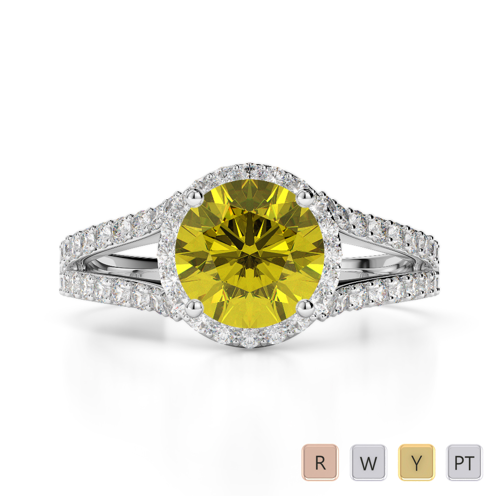 Gold / Platinum Round Cut Yellow Sapphire and Diamond Engagement Ring AGDR-1220