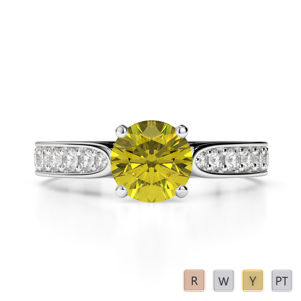 Gold / Platinum Round Cut Yellow Sapphire and Diamond Engagement Ring AGDR-1221