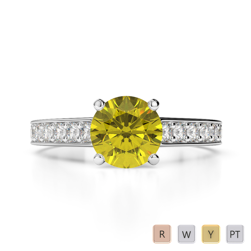 Gold / Platinum Round Cut Yellow Sapphire and Diamond Engagement Ring AGDR-1222