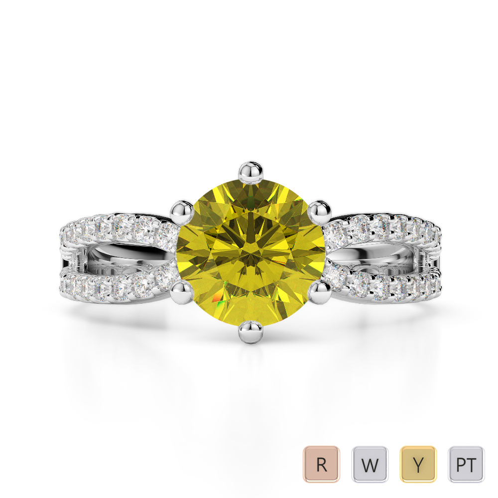 Gold / Platinum Round Cut Yellow Sapphire and Diamond Engagement Ring AGDR-1223