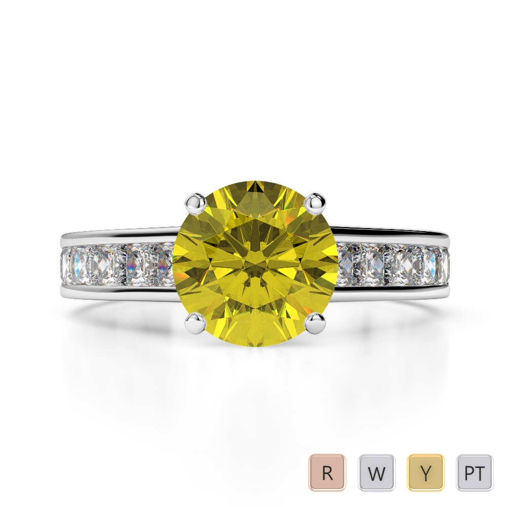 Gold / Platinum Round and Princess Cut Yellow Sapphire and Diamond Engagement Ring AGDR-1224