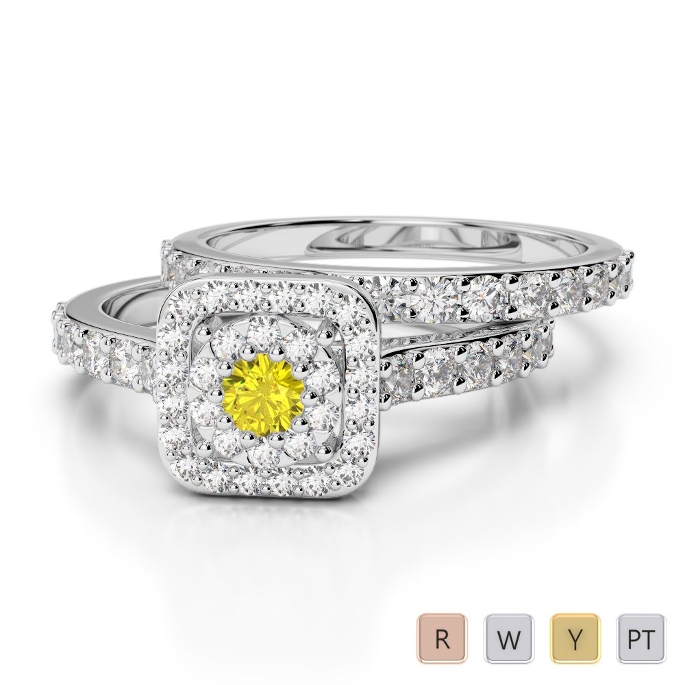 Gold / Platinum Round cut Yellow Sapphire and Diamond Bridal Set Ring AGDR-1246
