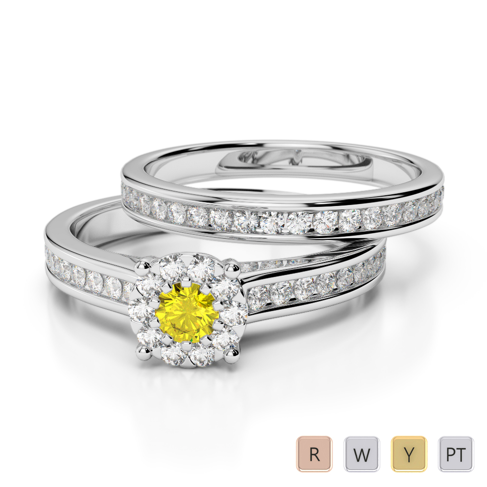Gold / Platinum Round cut Yellow Sapphire and Diamond Bridal Set Ring AGDR-1339