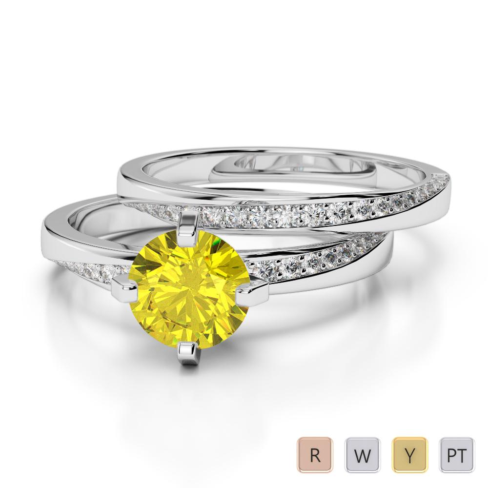 Gold / Platinum Diamond & Gemstone Bridal Set Ring AGDR-2001
