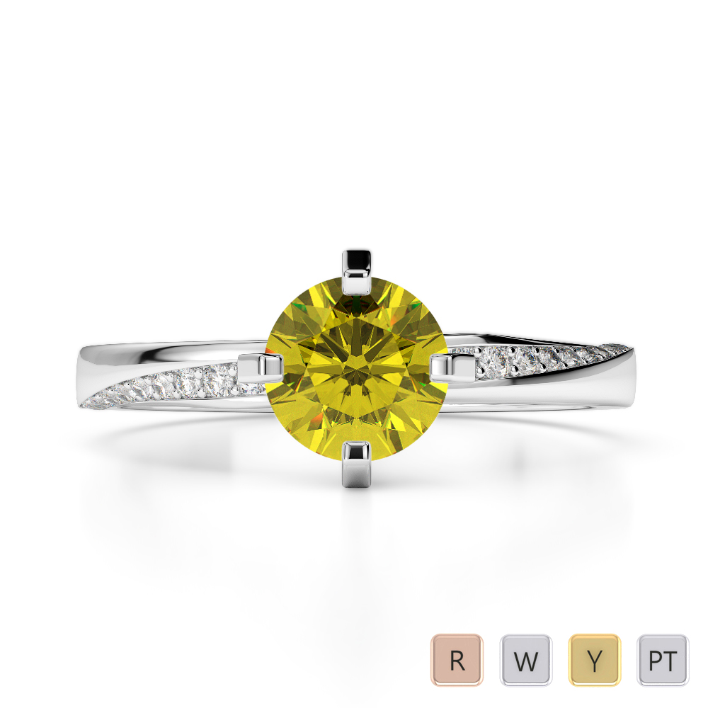 Gold / Platinum Round Cut Yellow Sapphire and Diamond Engagement Ring AGDR-2002