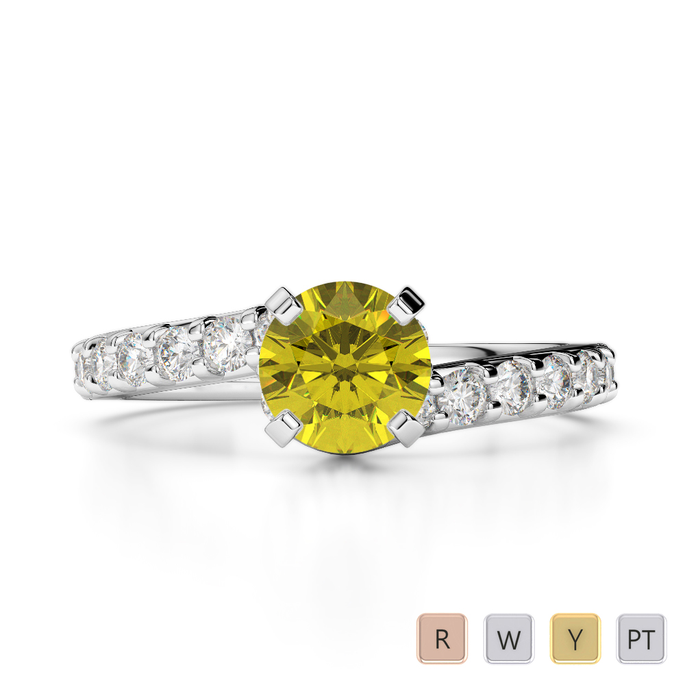 Gold / Platinum Round Cut Yellow Sapphire and Diamond Engagement Ring AGDR-2004