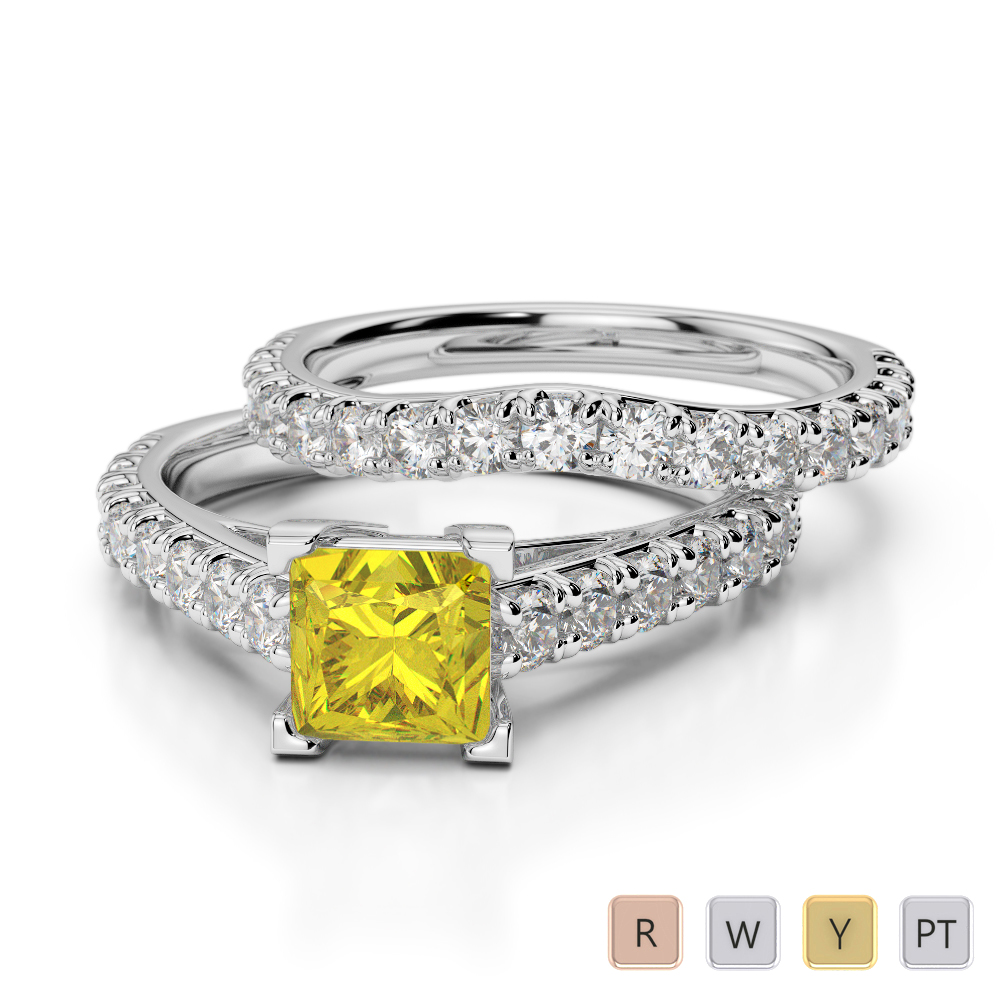 Gold / Platinum Round and Princess cut Yellow Sapphire and Diamond Bridal Set Ring AGDR-2007