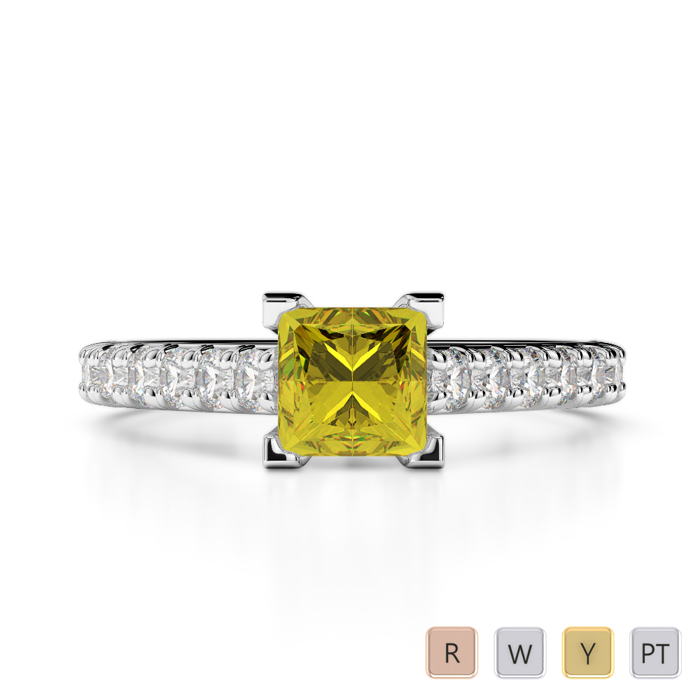 Gold / Platinum Round and Princess Cut Yellow Sapphire and Diamond Engagement Ring AGDR-2008