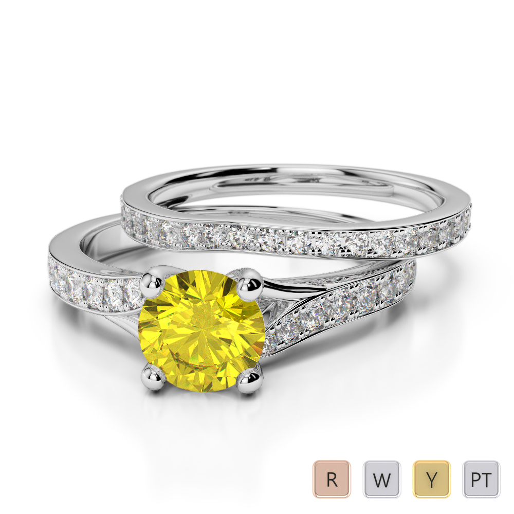 Gold / Platinum Round cut Yellow Sapphire and Diamond Bridal Set Ring AGDR-2011
