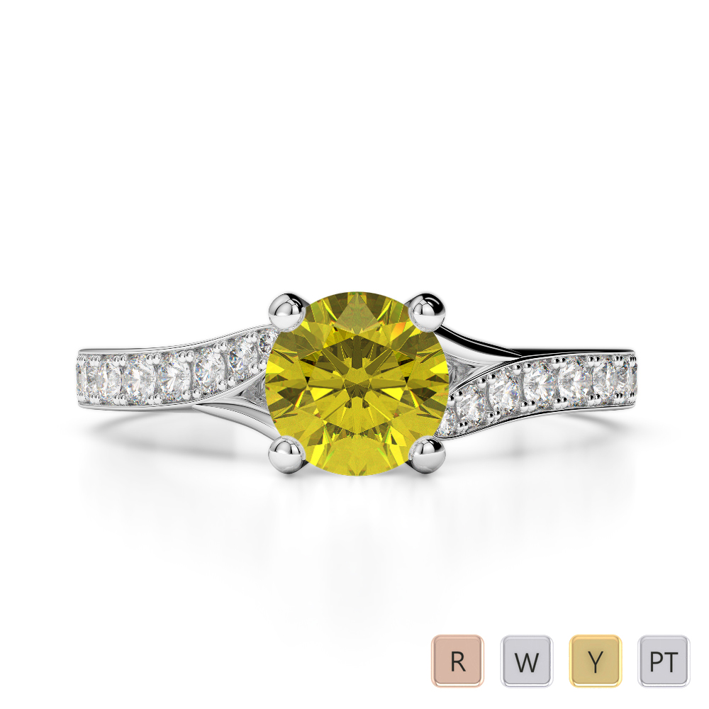 Gold / Platinum Round Cut Yellow Sapphire and Diamond Engagement Ring AGDR-2012