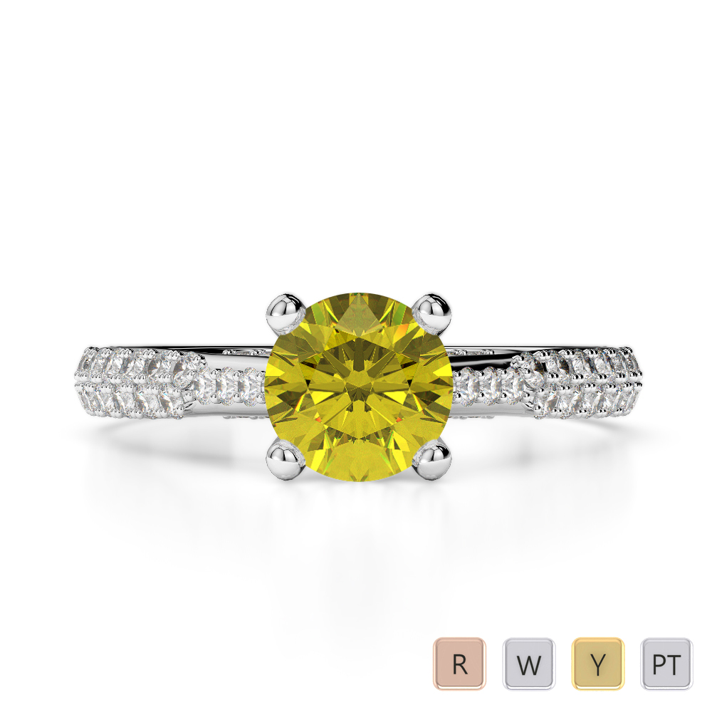 Gold / Platinum Round Cut Yellow Sapphire and Diamond Engagement Ring AGDR-2014