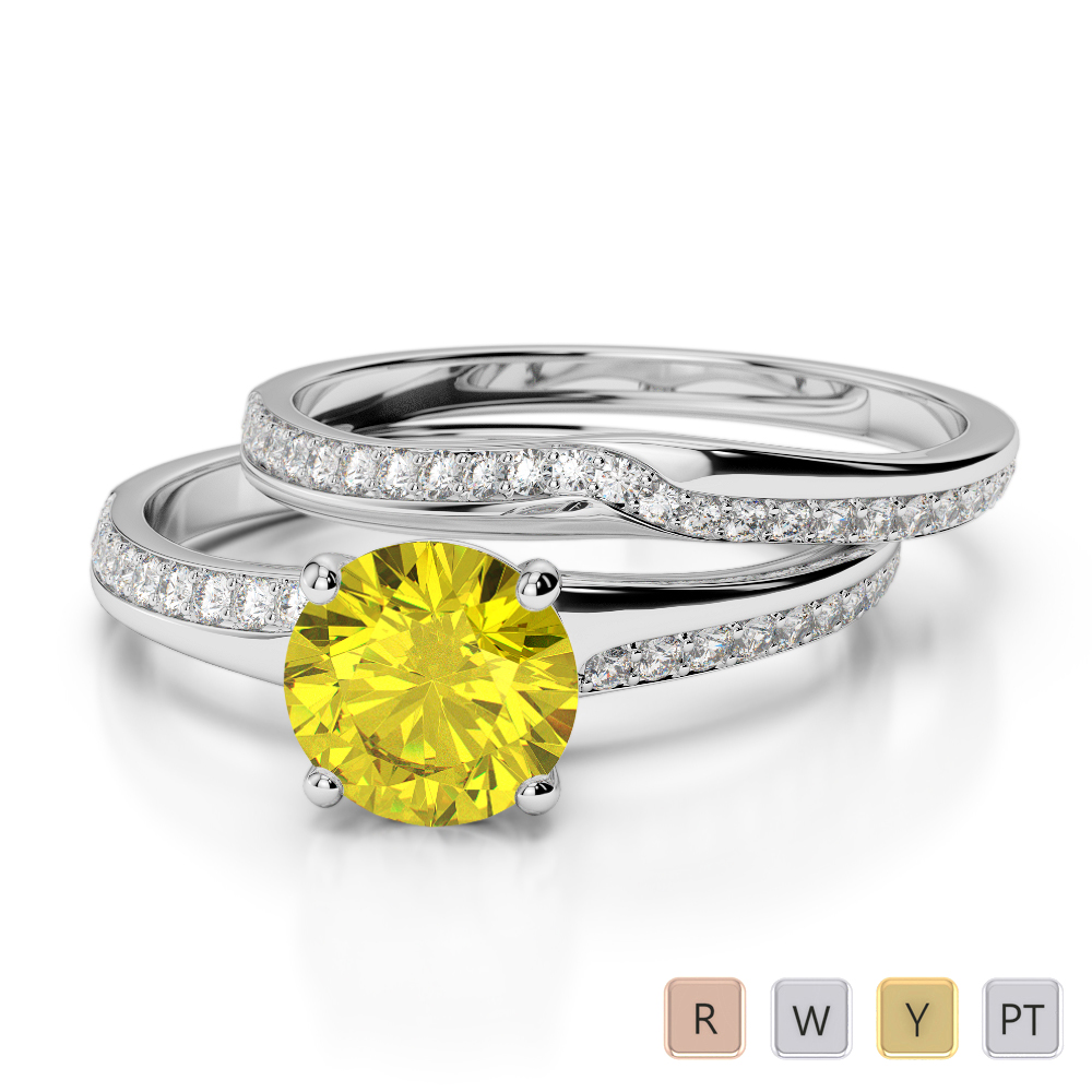 Gold / Platinum Round cut Yellow Sapphire and Diamond Bridal Set Ring AGDR-2015