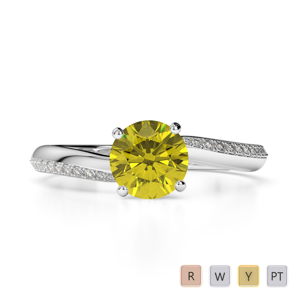 Gold / Platinum Round Cut Yellow Sapphire and Diamond Engagement Ring AGDR-2018