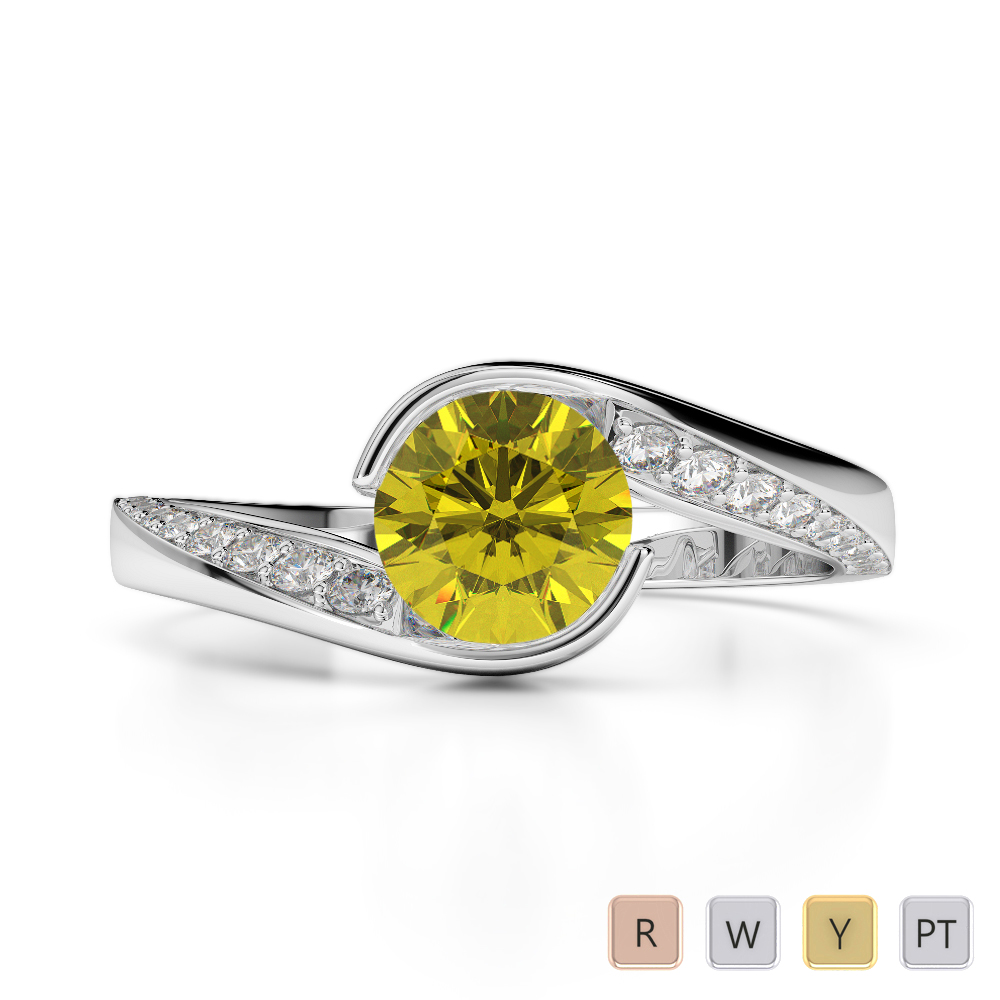 Gold / Platinum Round Cut Yellow Sapphire and Diamond Engagement Ring AGDR-2020