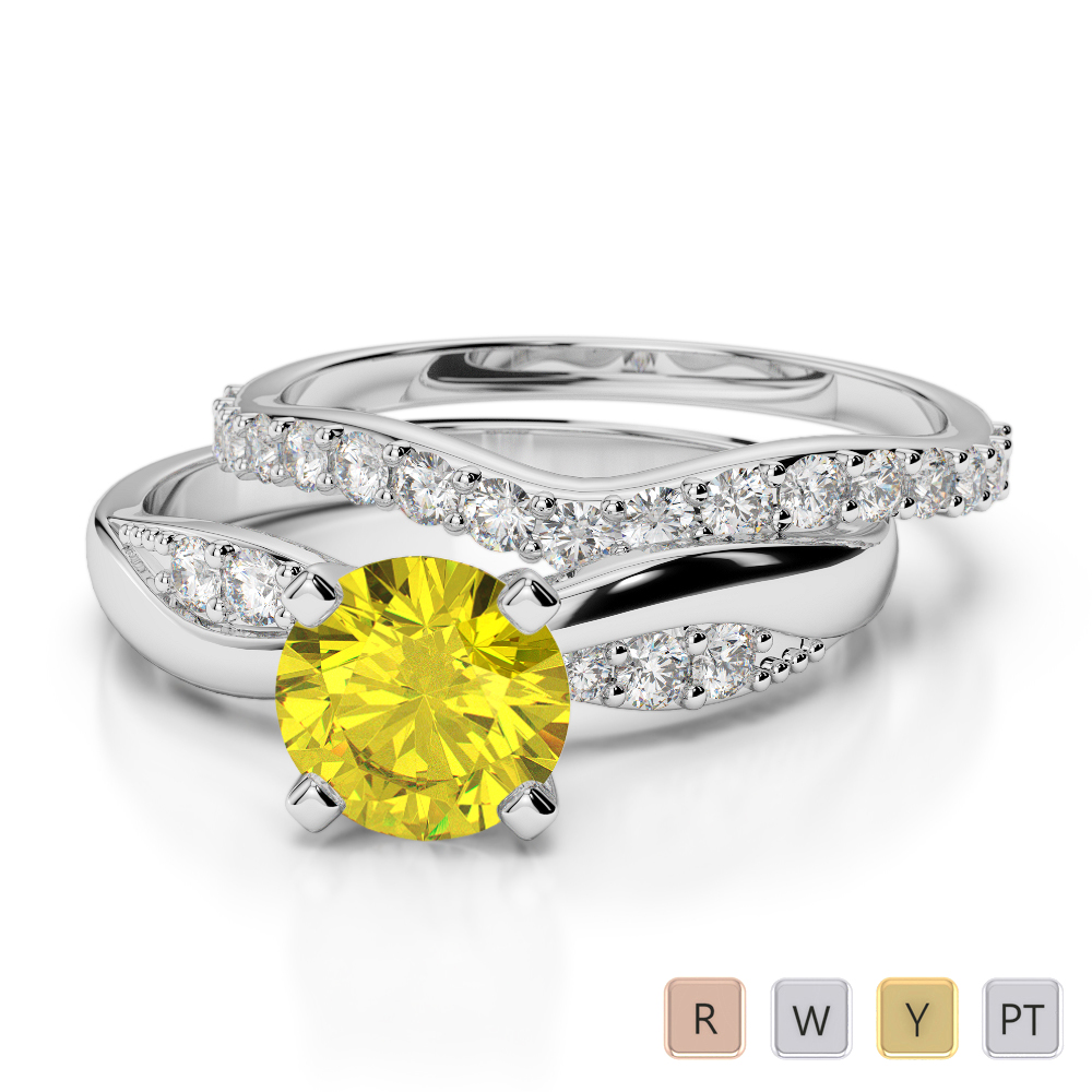Gold / Platinum Round cut Yellow Sapphire and Diamond Bridal Set Ring AGDR-2023