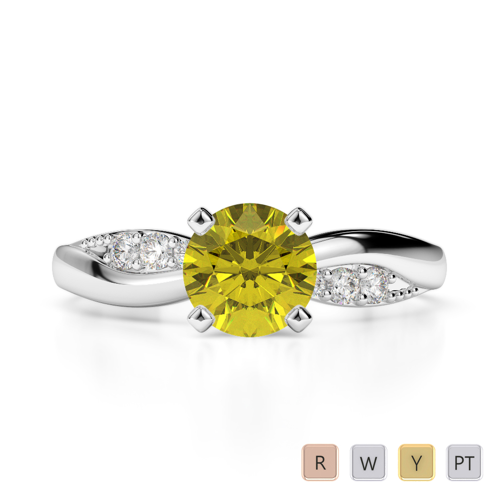 Gold / Platinum Round Cut Yellow Sapphire and Diamond Engagement Ring AGDR-2024