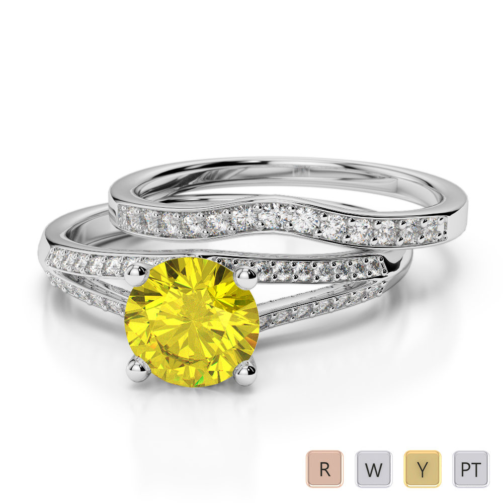 Gold / Platinum Round cut Yellow Sapphire and Diamond Bridal Set Ring AGDR-2037