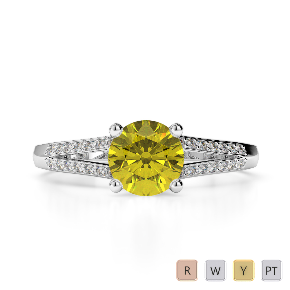 Gold / Platinum Round Cut Yellow Sapphire and Diamond Engagement Ring AGDR-2038