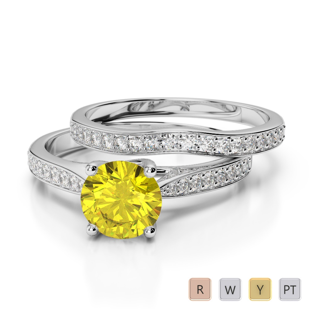 Gold / Platinum Round cut Yellow Sapphire and Diamond Bridal Set Ring AGDR-2053