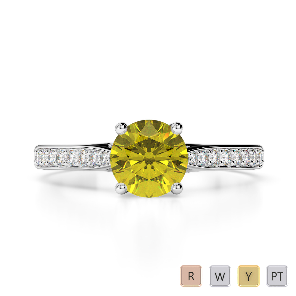 Gold / Platinum Round Cut Yellow Sapphire and Diamond Engagement Ring AGDR-2054