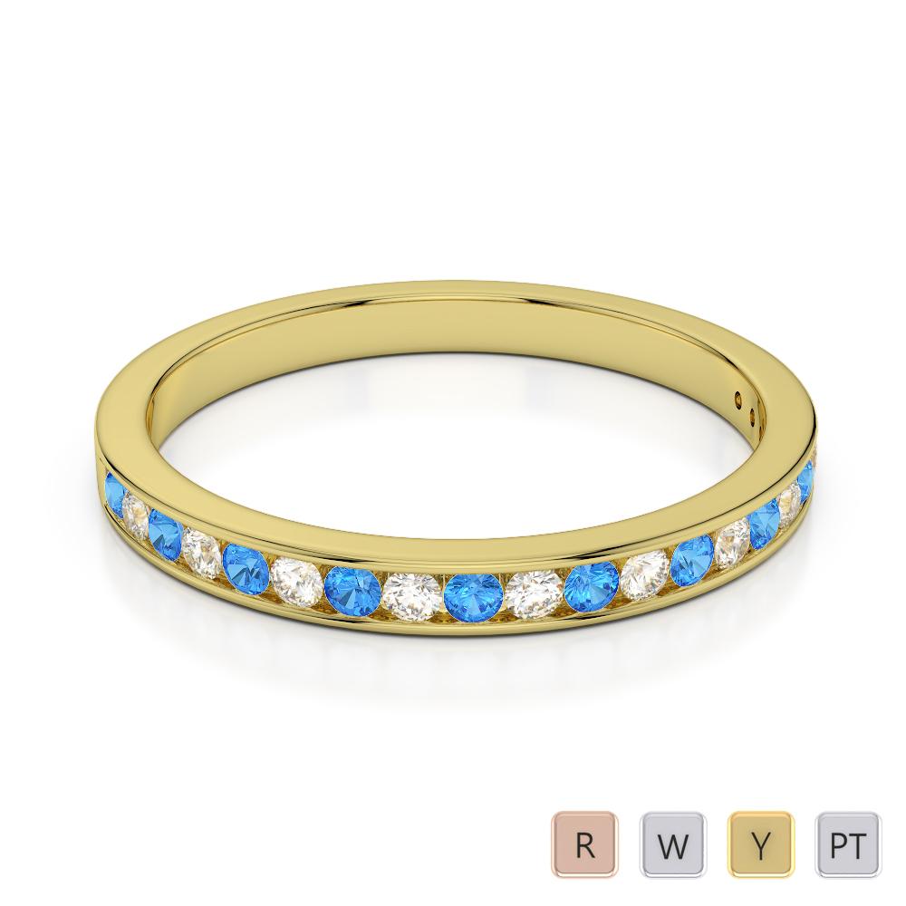 2.5 MM Gold / Platinum Round Cut Blue Topaz and Diamond Half Eternity Ring AGDR-1089