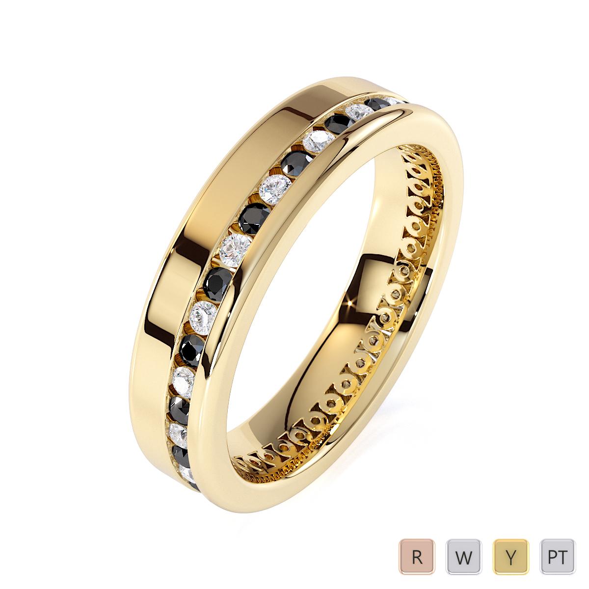 Gold / Platinum Black Diamond with Diamond Full Eternity Ring RZ1514