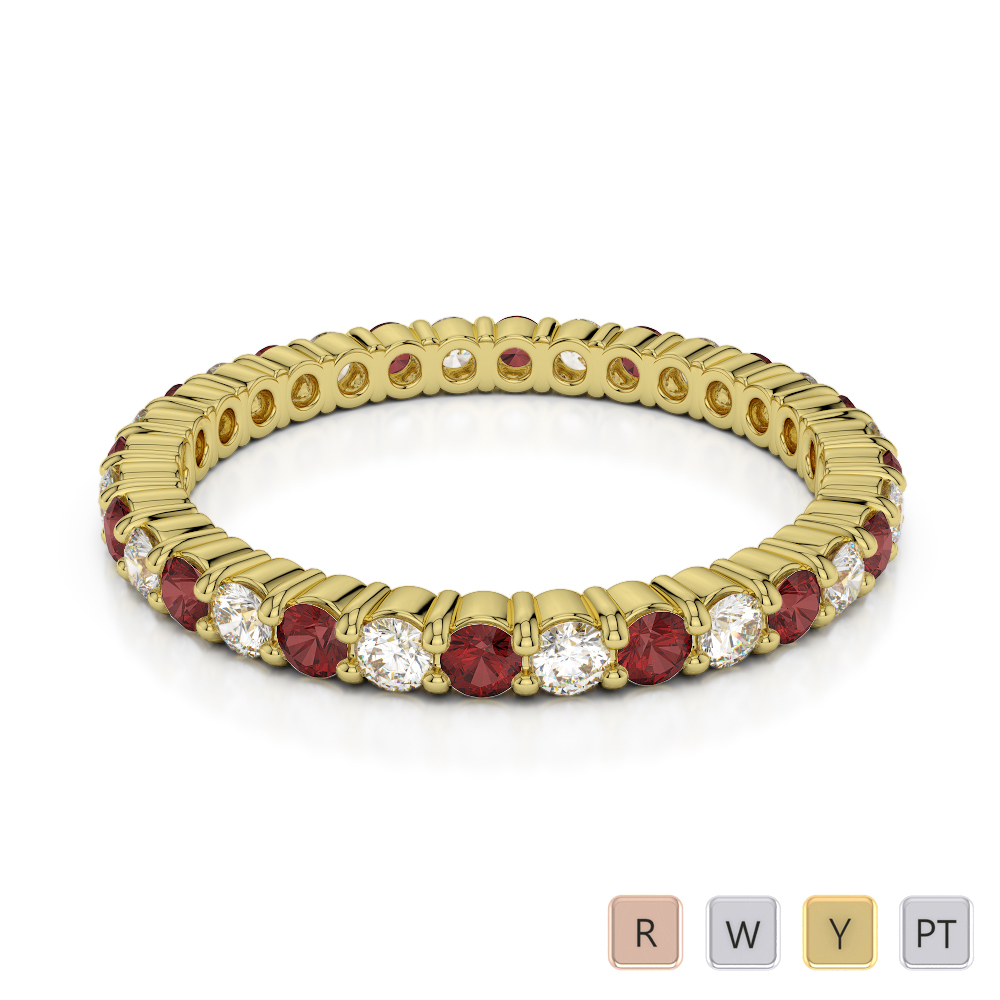 2 MM Gold / Platinum Round Cut Garnet and Diamond Full Eternity Ring AGDR-1110