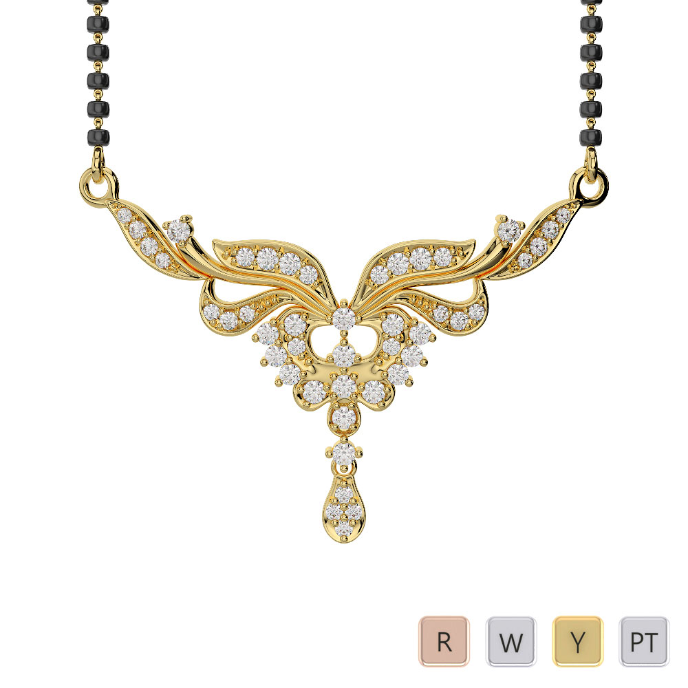 Gold / Platinum Diamond Mangalsutra Necklace IMS-498