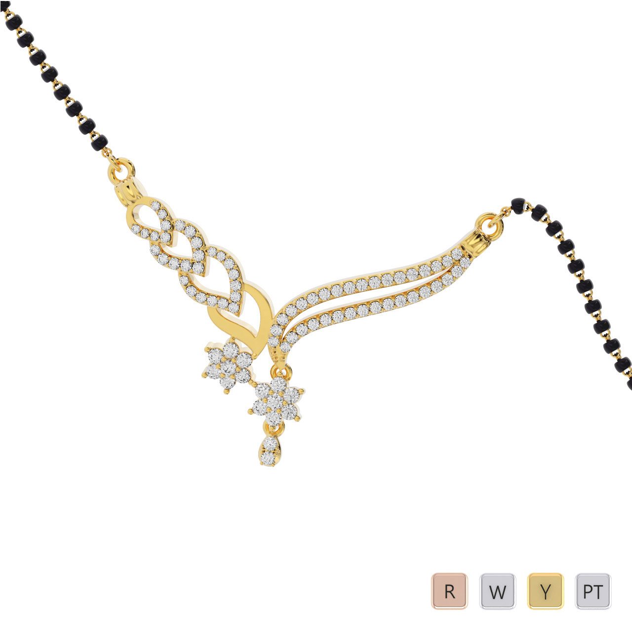 Gold / Platinum Round Cut Diamond Mangalsutra TZ0365