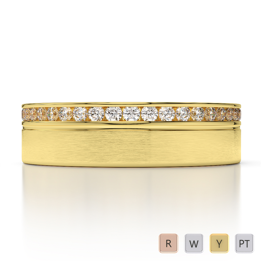 Gold / Platinum Diamond Mens Wedding Ring 5 mm AGDR-1280