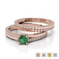 Gold / Platinum Diamond & Gemstone Bridal Set Ring AGDR-1060