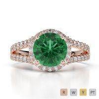 Gold / Platinum Round Cut Emerald and Diamond Engagement Ring AGDR-1220