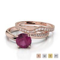 Gold / Platinum Round cut Ruby and Diamond Bridal Set Ring AGDR-2017