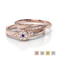 Gold / Platinum Diamond & Gemstone Bridal Set Ring AGDR-1057