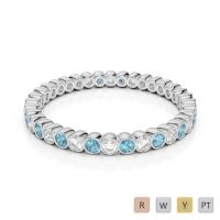 Gold / Platinum Round Cut Aquamarine and Diamond Full Eternity Ring AGDR-1098