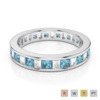 4 MM Gold / Platinum Princess and Baguette Cut Aquamarine and Diamond Full Eternity Ring AGDR-1141
