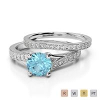 Gold / Platinum Round cut Aquamarine and Diamond Bridal Set Ring AGDR-2011