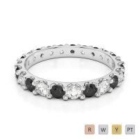 2.5 MM Gold / Platinum Round Cut Black Diamond with Diamond Full Eternity Ring AGDR-1105