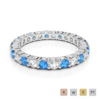 2.5 MM Gold / Platinum Round Cut Blue Topaz and Diamond Full Eternity Ring AGDR-1111