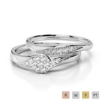 Gold / Platinum Round cut Diamond Bridal Set Ring AGDR-1057