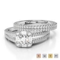 Gold / Platinum Diamond Bridal Set Ring AGDR-1193