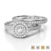 Gold / Platinum Round cut Diamond Bridal Set Ring AGDR-1239