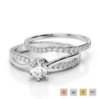 Gold / Platinum Diamond & Gemstone Bridal Set Ring AGDR-2021