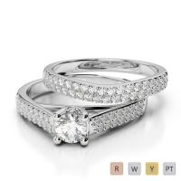 Gold / Platinum Round cut Diamond Bridal Set Ring AGDR-2045