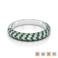 Gold / Platinum Round Cut Emerald and Diamond Half Eternity Ring AGDR-1118