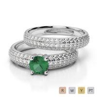 Gold / Platinum Diamond & Gemstone Bridal Set Ring AGDR-1152