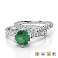 Gold / Platinum Round cut Emerald and Diamond Bridal Set Ring AGDR-2049