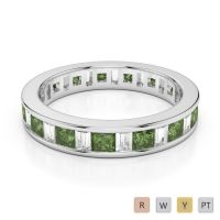 4 MM Gold / Platinum Princess and Baguette Cut Green Tourmaline and Diamond Full Eternity Ring AGDR-1141